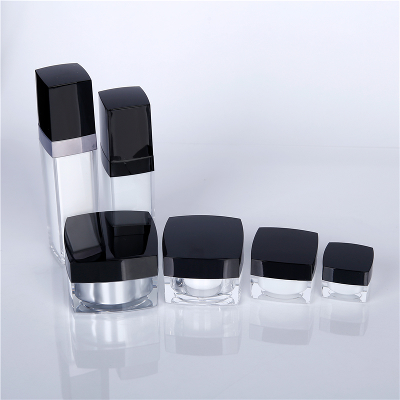 Cosmetic bottle with black lid