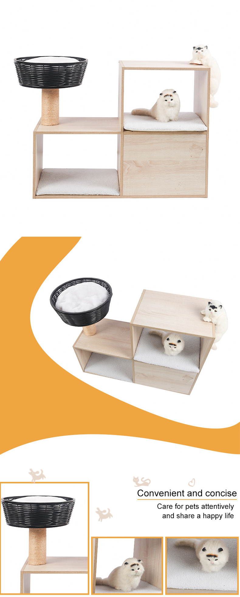 Double - deck cat cabinet with rattan cat nest