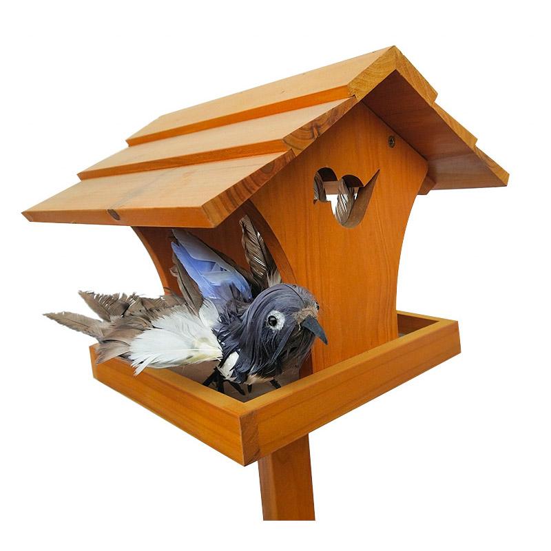 Wooden outdoor floor bird feeder pet supplies
