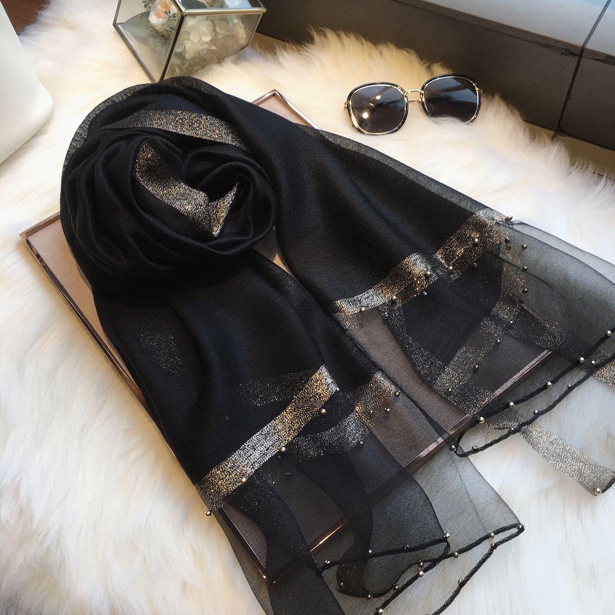 Black mulberry silk scarf