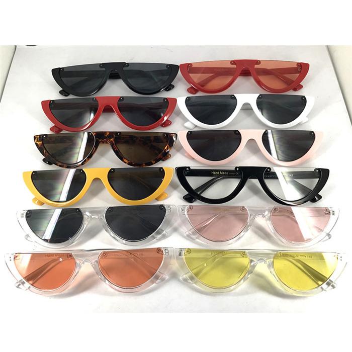 Unique Half Frame Women Cat Eye Sunglasses