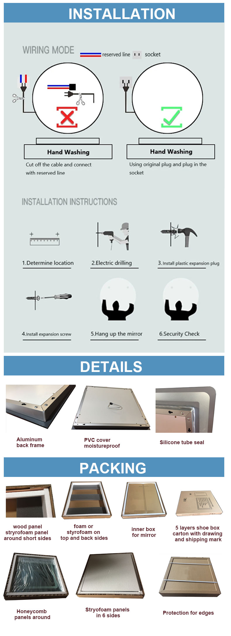 Rectangular bathroom mirror suppliers
