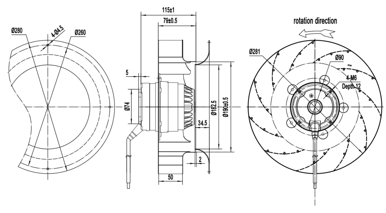 Centrifugal fan, ec fan, axial fan, blower fan, radial fan, EC motor, external rotor motor, DC fan; DC motor; DC brushless motor