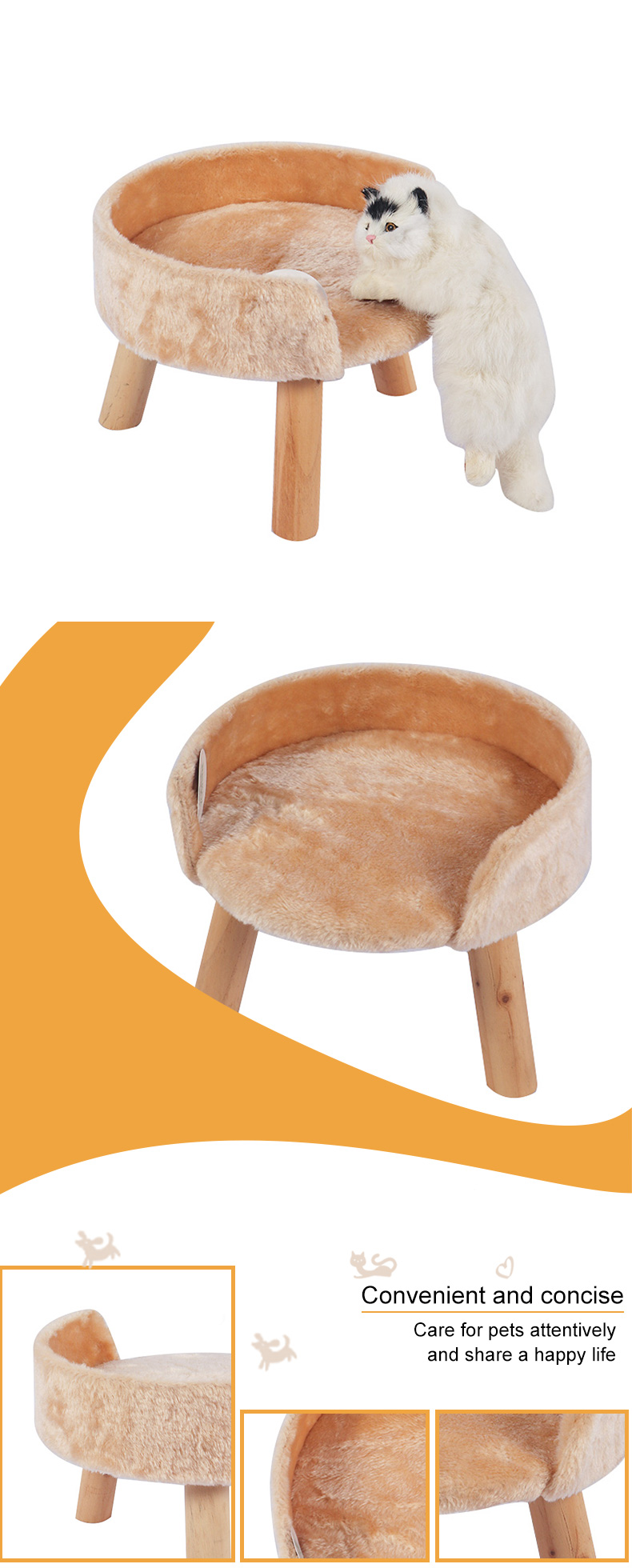 small solid wood cat bed pet product