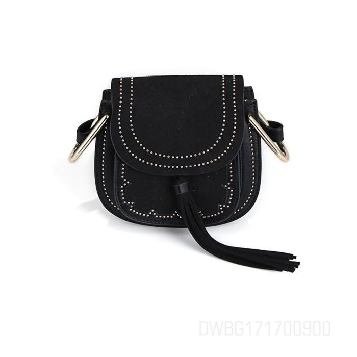 Women Black Leather Silver Beaded Crossbody Bag