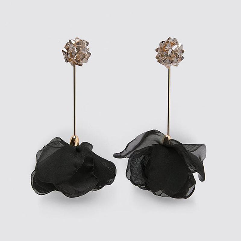 Ribbon Flower Dangle Earrings3