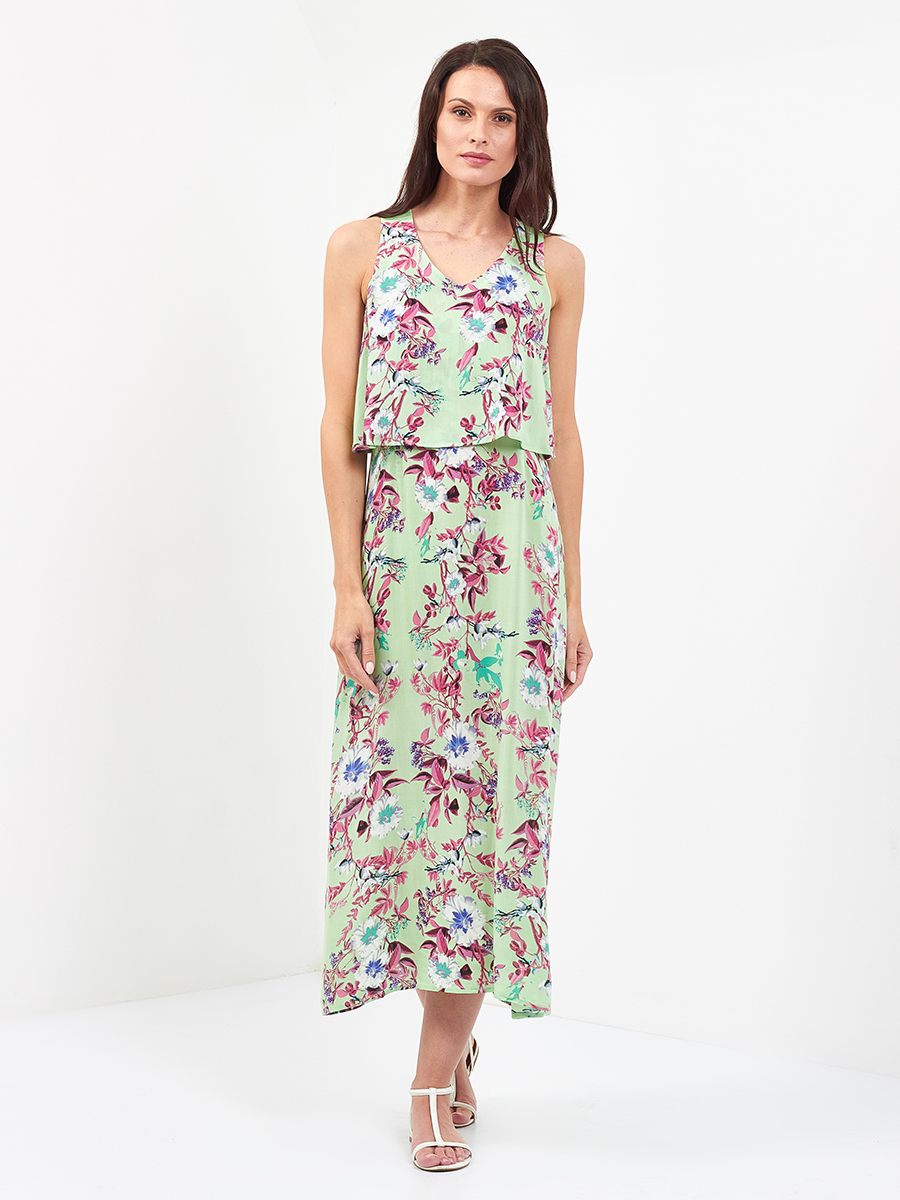 Green Flora Peplum Dress
