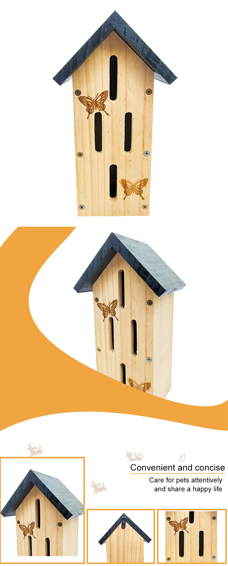 solid wood butterfly nest pet supplies
