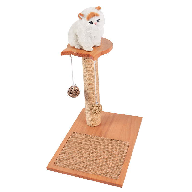 Self - hi solid wood cat toy with sisal board