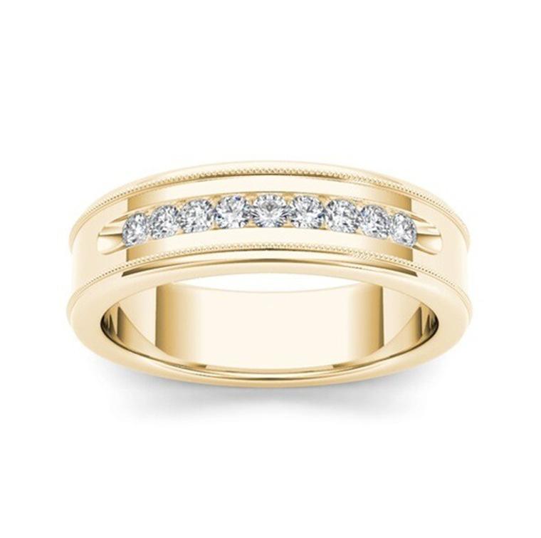 Golden white diamond ring