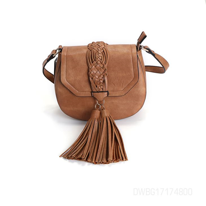 Girls Brown Leather Tassels Magnetic Button Cross Body Bag