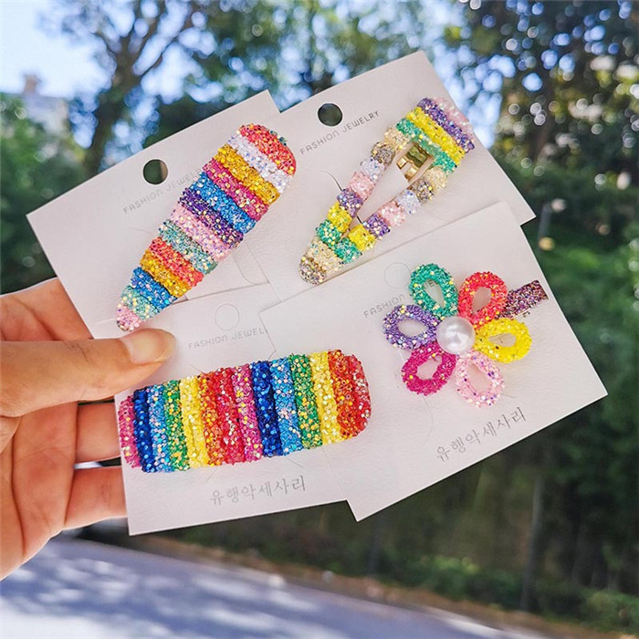 Rainbow color spell color hair clips