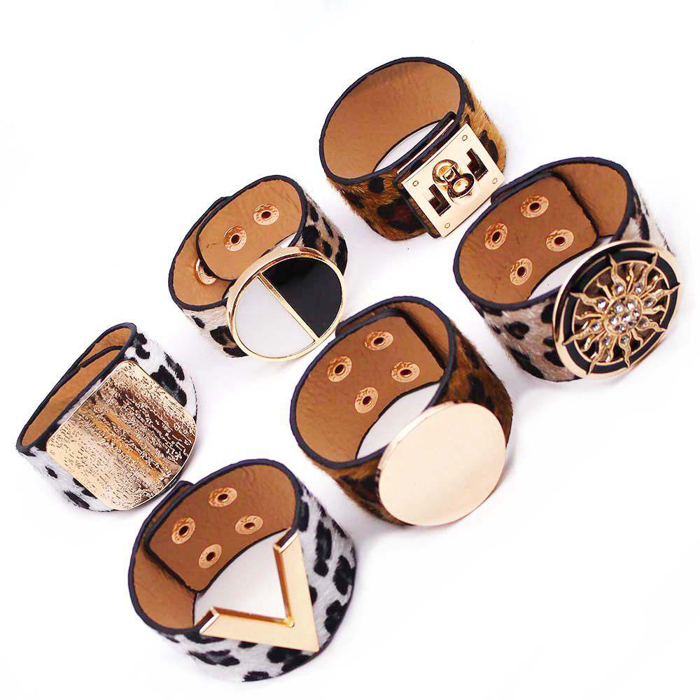 Leopard Charm Leather Bracelets