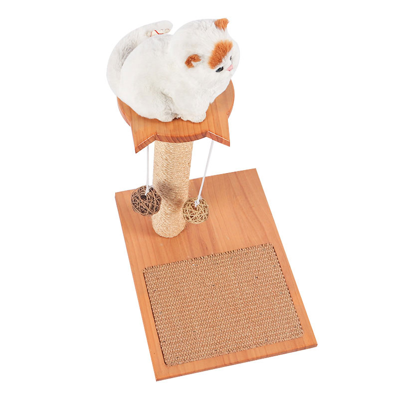 Self - hi solid wood cat toy with sisal board pet product