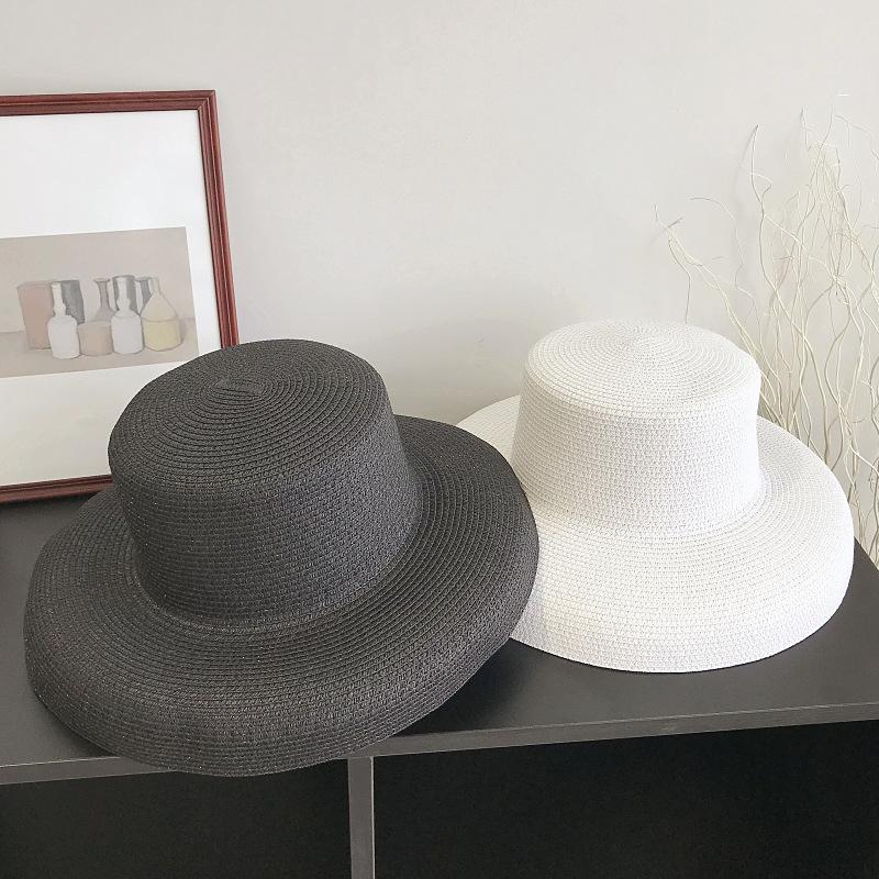 Hepburn black straw hat