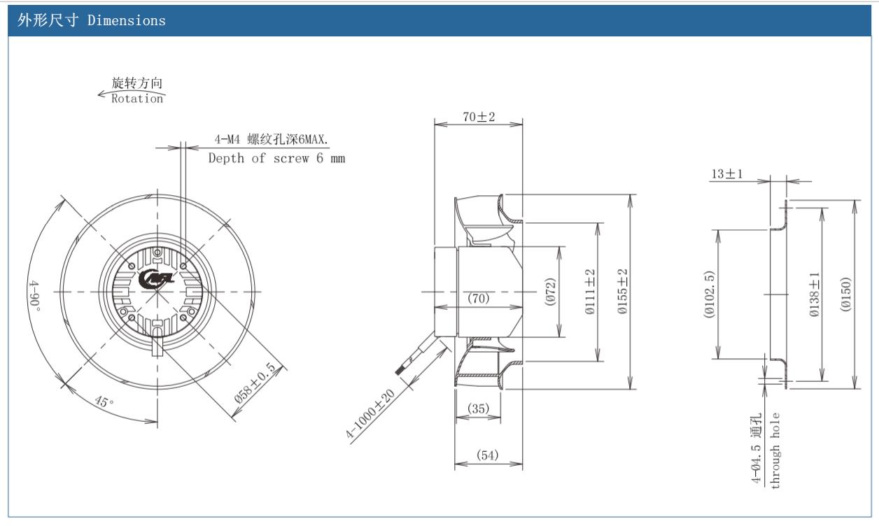 ec fan, Centrifugal fan, radial fan, blower fan, EC motor, external rotor motor, DC fan, DC motor, DC brushless motor, axial fan