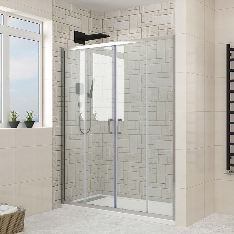 glass shower door for curved tub