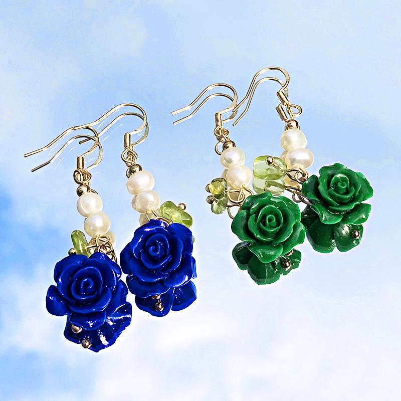 Colorful Flower Pearl Dangle Earrings BG