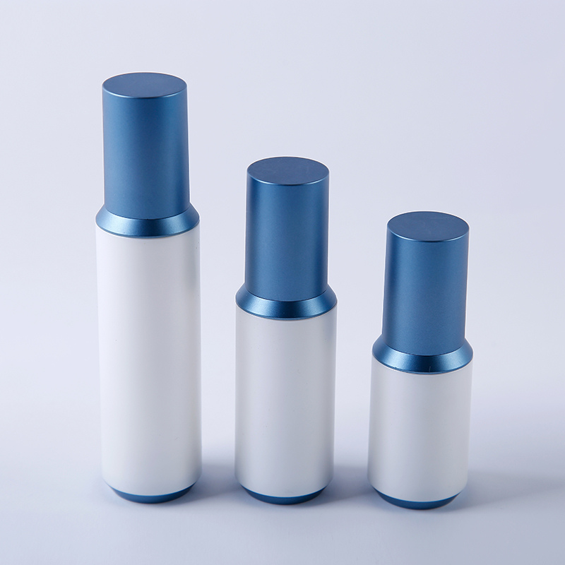 Blue airless cosmetic bottles