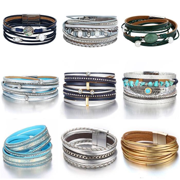 Multiple Layer Leather Bracelet For Women Men