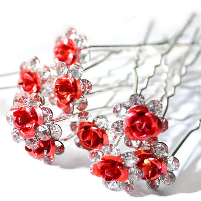 Crystal Diamante Flower Rose Hairpin