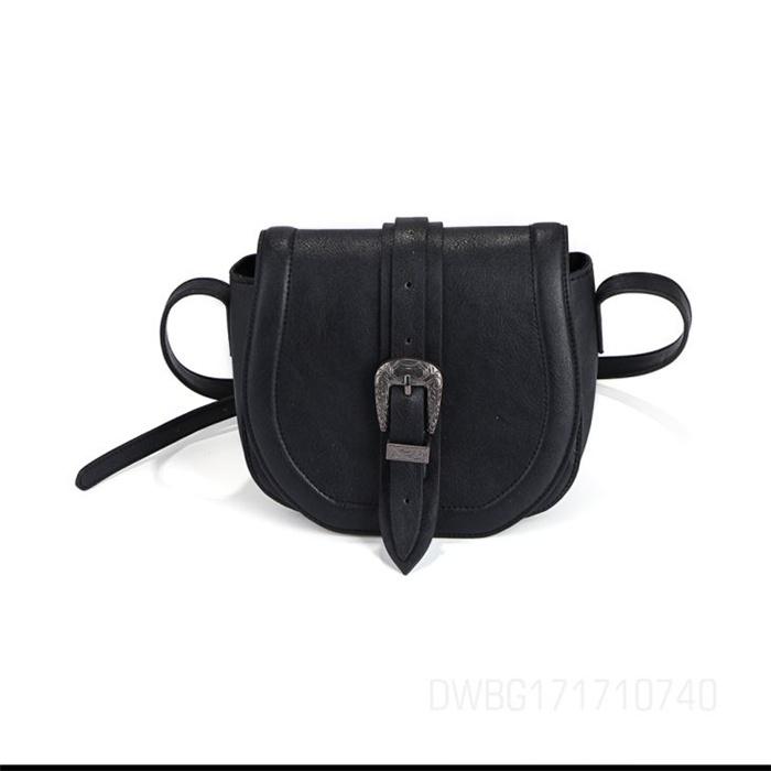 Black Leather Buckles Long Strap Shoulder Crossbody Bag