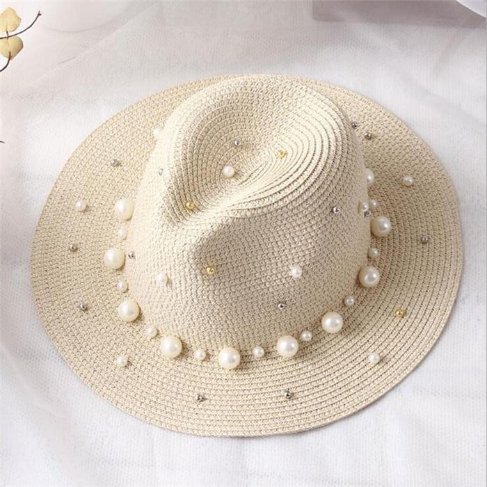 Flower Pearl rivet Straw Hat
