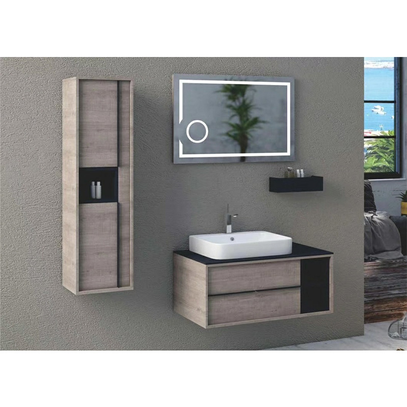Plywood bathroom vanity with side cabinet