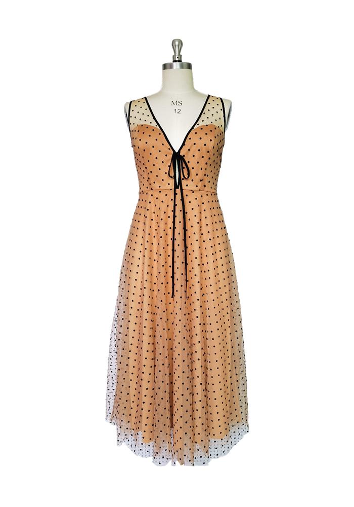 Black dot flocked dress