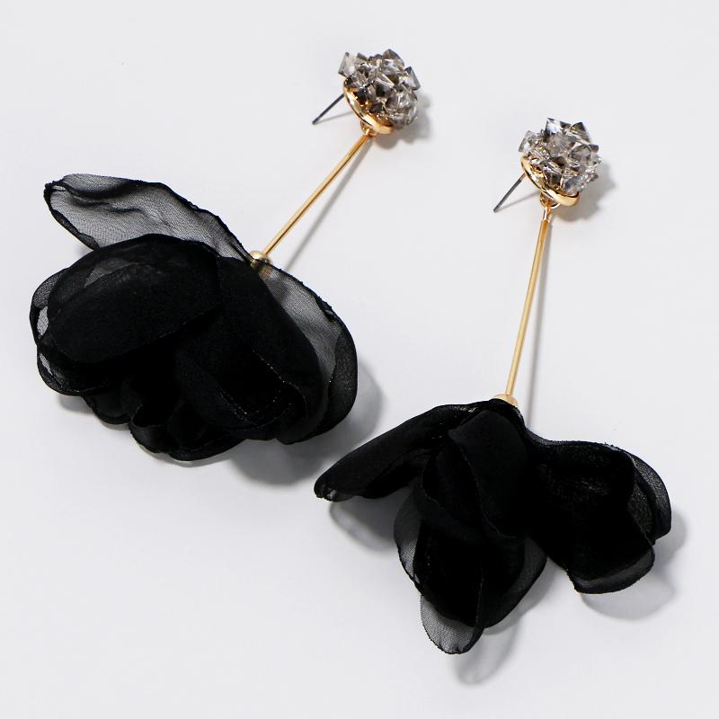 Ribbon Flower Dangle Earrings