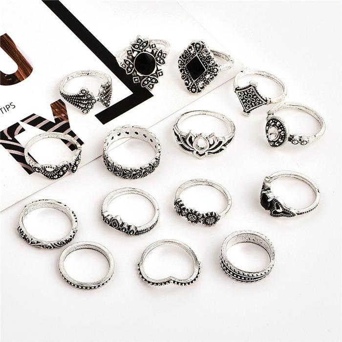 Bohemian Retro Crystal Silver Ring