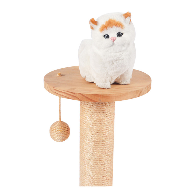 Solid wood cat toy sisal pole pet product