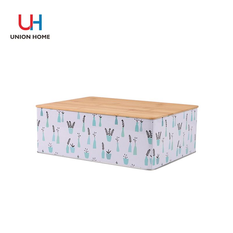 Bamboo cover storage cube with iron box