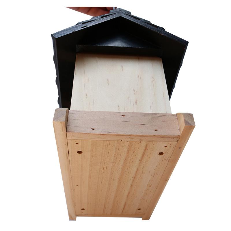 Solid wood bird feeder