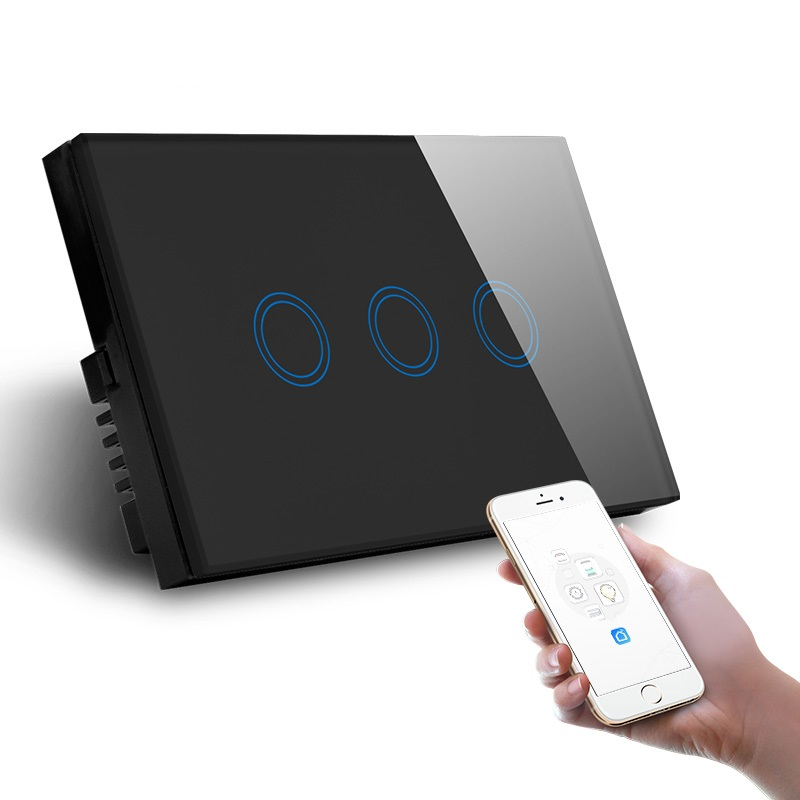 LED Light Smart Tempered Glass Module Touch Sensor Panel Screen Black Wall Switch