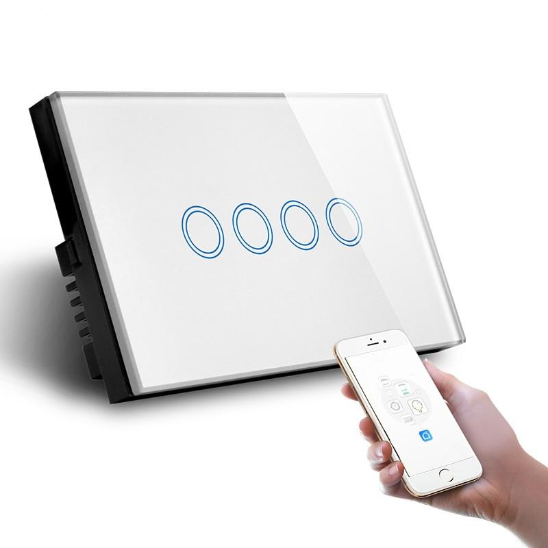 UK Standard 4 Gang WIFI Zigbee Module Smart Switch