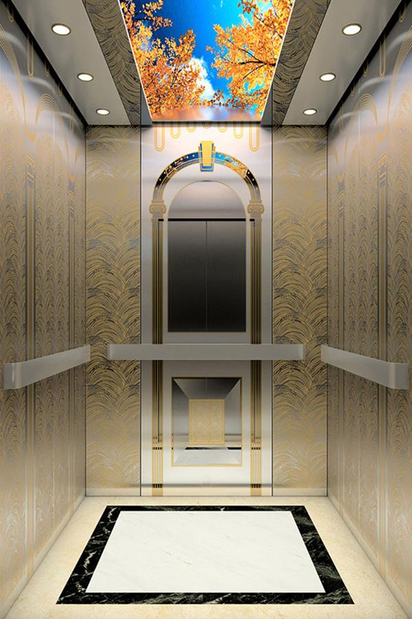 Beautiful Gold Mirror etching St. St. Car wall Passenger Elevator
