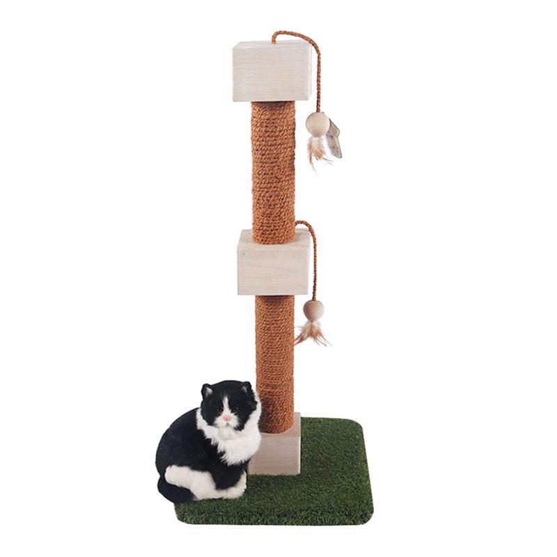 Self - hi solid wood cat toy turf base pet product