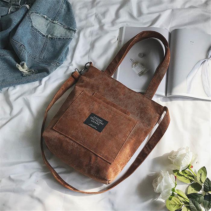 Corduroy Zipper Shoulder Bag