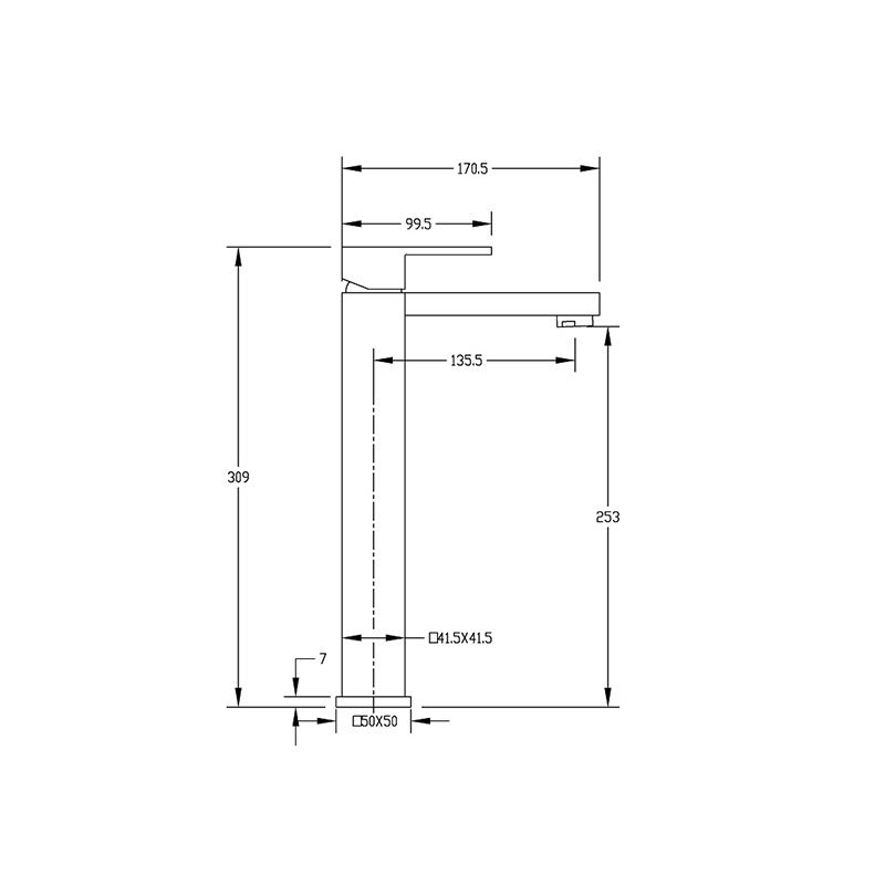Square Single Level High Basin Mixer