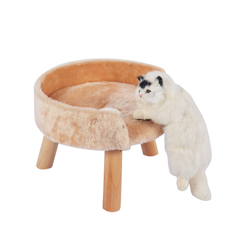 Small solid wood cat bed