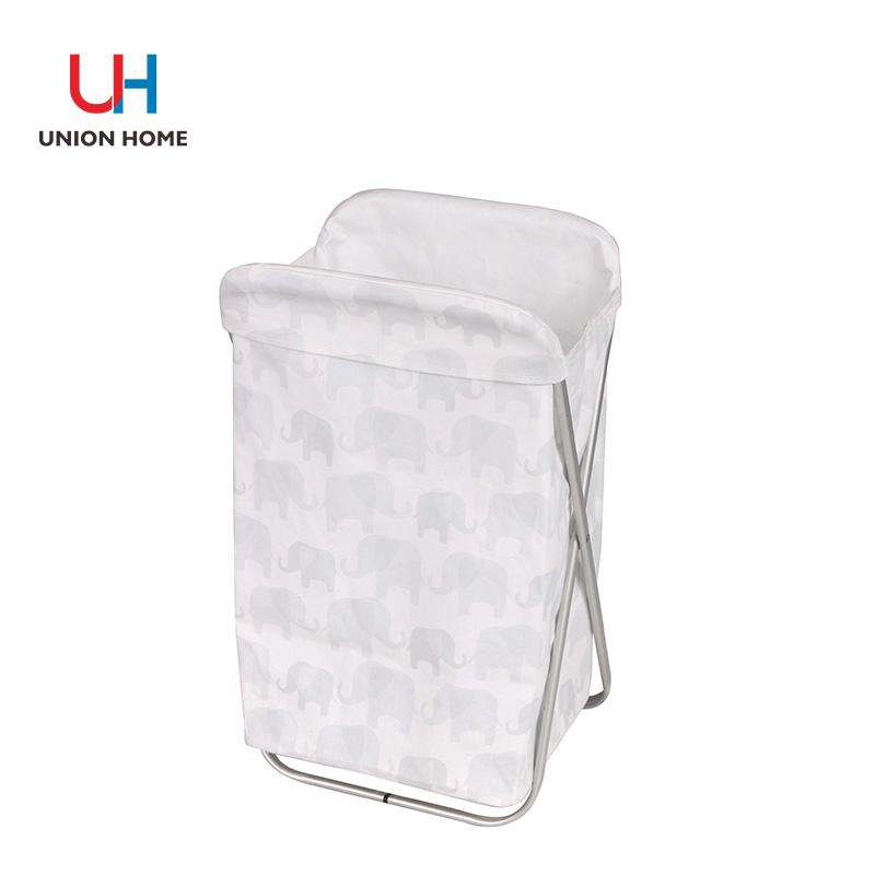 Pu leather handle laundry basket with alumium frame