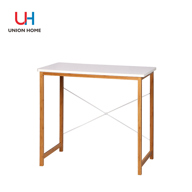 Bamboo and white computer desk