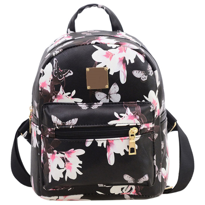 Fashion Floral Printing Women Leather Backpack