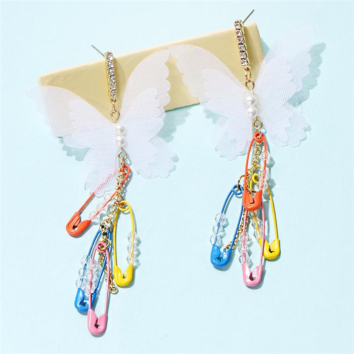 Butterfly Pins Pearl Dangle Earrings