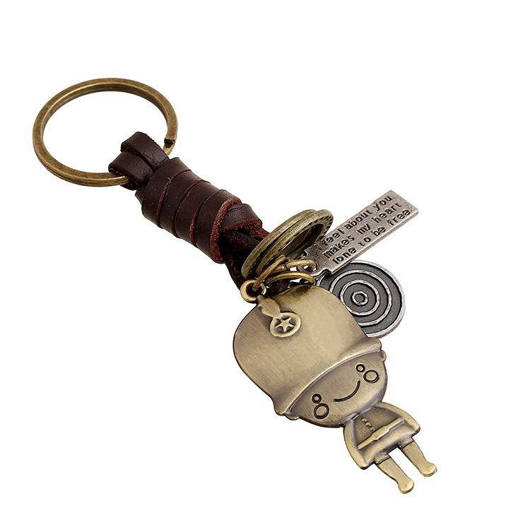 Retro woven leather key chain