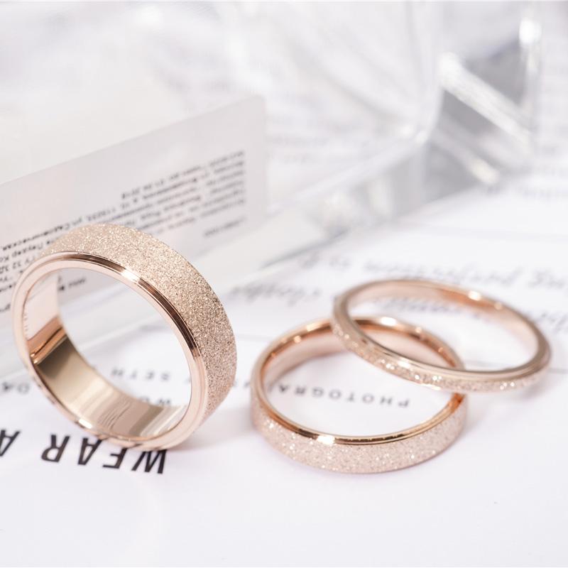 Simple Scrub Stainless Steel Women 's Rings