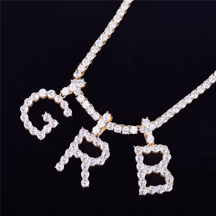 Zircon Tennis Letters Necklaces