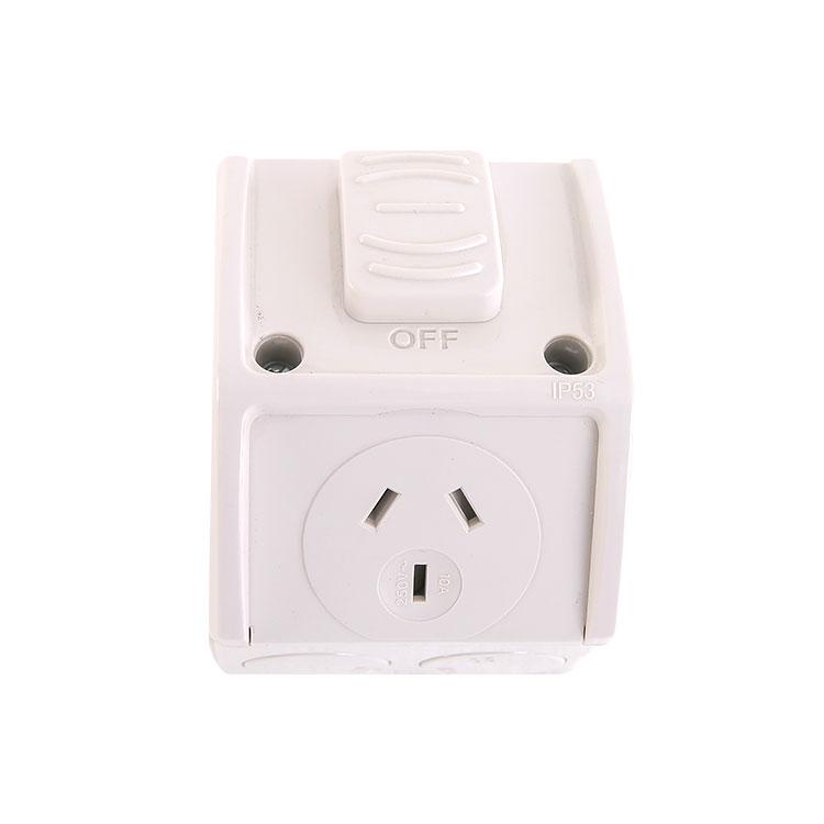 250V 10A Weatherproof Single Half Switch Socket