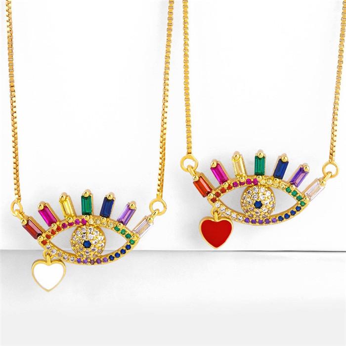 Rhinestone Eyes Love Pendant Necklace